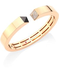 Roberto Coin - Prive Pyramid Pave Diamond & 18k Rose Gold Bangle - Lyst