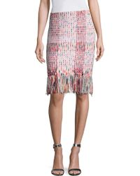 St. John - Macro Plaid Ribbon Pencil Skirt - Lyst