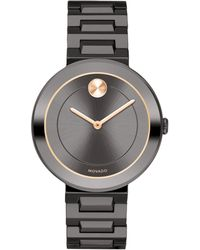 Movado - Mid-size Bold Gunmetal Stainless Steel Watch - Lyst