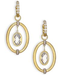Jude Frances | Classic White Topaz, Diamond & 18k Yellow Gold Oval Link Earring Charms | Lyst