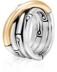 John Hardy - Bamboo 18k Yellow Gold & Sterling Silver Band Ring - Lyst