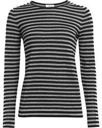 Akris Punto Metallic Stripe Wool-blend Pullover - Black