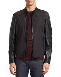 57bdc8dc0 BOSS Ma-1 Bomber Jacket In Mixed Tonal Leather in Black for Men - Lyst