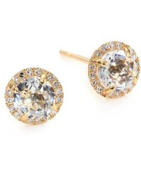 EF Collection - Diamond, White Topaz & 14k Yellow Gold Stud Earrings - Lyst