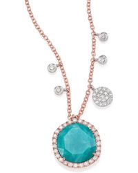 Meira T - Amazonite, Diamond & 14k Rose Gold Pendant Necklace - Lyst