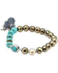 Chan Luu - Metallic Beaded Tassel Bracelet - Lyst