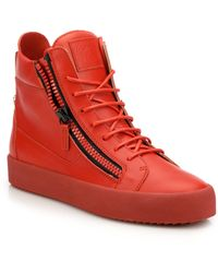 060b98878be7a Giuseppe Zanotti - Men's Double Zip Leather High-top Sneakers - Red - Lyst