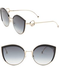 d4ec722574 Lyst - Fendi Metal Cat Eye Sunglasses in Black