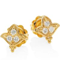 Temple St. Clair | Lotus Diamond & 18k Yellow Gold Stud Earrings | Lyst