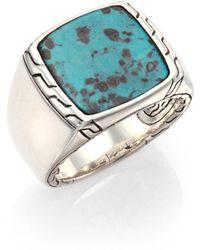 John Hardy - Batu Classic Chain Turquoise & Sterling Silver Signet Ring - Lyst