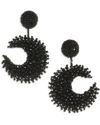 Oscar de la Renta - Embroidered Moon Earrings - Lyst