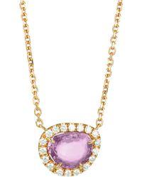 Anita Ko - 18k Rose Gold Diamond & Pink Sapphire Pendant Necklace - Lyst
