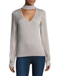 Ramy Brook - Ashley Chiffon-sleeve Choker Jumper - Lyst
