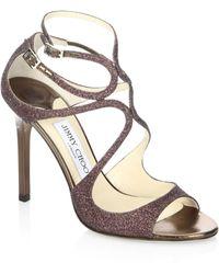 Jimmy Choo   Lang 100 Glitter Sandals   Lyst
