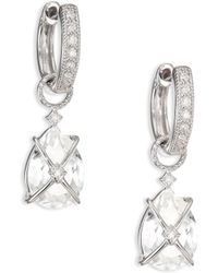 Jude Frances - Classic White Topaz, Diamond & 18k White Gold Wrapped Pear Earring Charms - Lyst