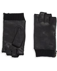 John Varvatos - Leather Zip Gloves - Lyst