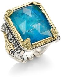 Konstantino - Iliada Chrysocolla Doublet, Sterling Silver & 18k Yellow Gold Ring - Lyst