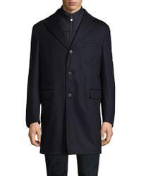 Corneliani - Navy Storm System Wool-blend Topcoat - Lyst