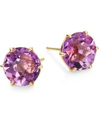 Ippolita | Rock Candy Dark Amethyst & 18k Yellow Gold Stud Earrings | Lyst
