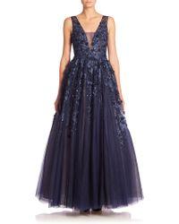 Basix Black Label - Floral Appliqué Gown - Lyst