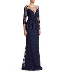 Teri Jon - Embellished Lace Gown - Lyst