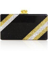 Edie Parker - Jean Diagonal Glitter Stripe Acrylic Clutch - Lyst