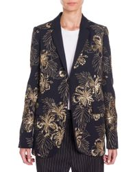 ad83ef8739f Stella McCartney - Women s Embroidered Wool Boyfriend Blazer - Ink - Size  42 (8)