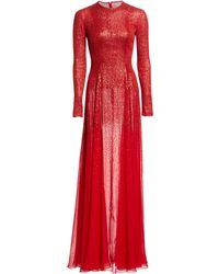 Oscar de la Renta - Long-sleeve Beaded Silk Gown - Lyst