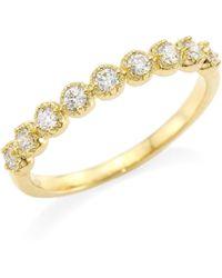 Hearts On Fire - Diamond Bar & 18k Yellow Gold Single Prong Milgrain Band Ring - Lyst