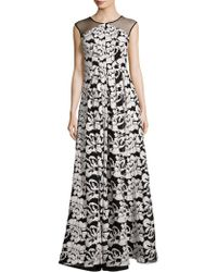 Kay Unger - Floral Floor-length Gown - Lyst