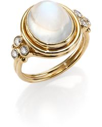 Temple St. Clair - Royal Blue Moonstone, Diamond & 18k Yellow Gold Oval Ring - Lyst