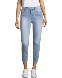 PAIGE - Hoxton High-rise Distressed Hem Crop Skinny Jeans - Lyst