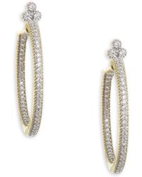 Jude Frances - Medium Provence Pave Diamond Hoop Earrings - Lyst