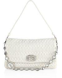 f548413306 Miu Miu - Women s Nappa Crystal Matelasse Leather Pouchette - Nero - Lyst