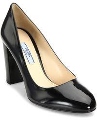 Prada - Patent Leather Block Heel Pumps - Lyst