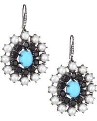 Holly Dyment - Turquoise, White Pearl & Diamond Disc Earrings - Lyst
