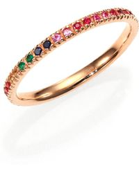 Sydney Evan | Multicolor Sapphire, Ruby, Emerald & 14k Rose Gold Rainbow Eternity Band Ring | Lyst