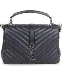 Saint Laurent - Medium College Monogram Matelasse Leather Shoulder Bag - Lyst