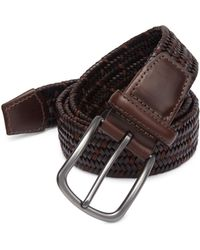 Saks Fifth Avenue - Brown Woven Leather Belt - Lyst