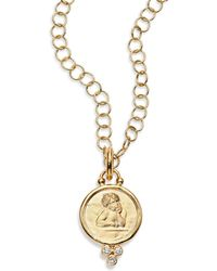 Temple St. Clair - Angel Diamond & 18k Yellow Gold Medium Pendant - Lyst