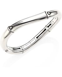 John Hardy - Bamboo Medium Sterling Silver Curved Hinged Bangle - Lyst