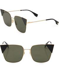 Fendi - 55mm Squared Cat Eye Sunglasses - Lyst