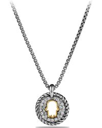 David Yurman - Cable Collectibles Hamsa Charm Necklace With Diamonds And 18k Gold - Lyst