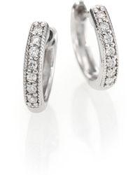 Jude Frances - Classic Diamond & 18k White Gold Huggie Hoop Earrings/0.5 - Lyst