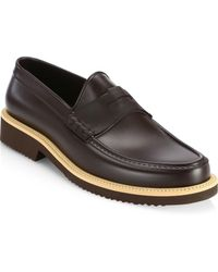 Saks Fifth Avenue - Collection Contrast Sole All-weather Rubber Penny Loafer - Lyst
