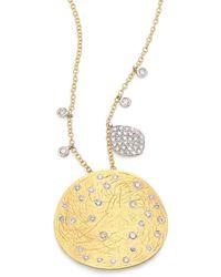 Meira T - Diamond, 14k Yellow & White Gold Disc Pendant Necklace - Lyst