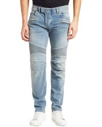 Balmain - Tapered Bleach Biker Jeans - Lyst
