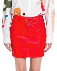 Moschino - Racecar Leather Skirt - Lyst