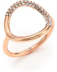 Michael Kors | Pave Circle Ring/rose Goldtone | Lyst