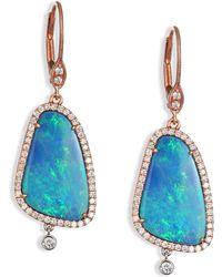 Meira T - Opal, Diamond, 14k Rose & White Gold Drop Earrings - Lyst